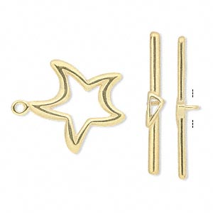 clasp, jbb findings, toggle, gold-plated pewter (tin-based alloy), 20x20mm double-sided star. sold individually.