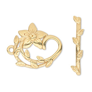 clasp, jbb findings, toggle, gold-plated pewter (tin-based alloy), 24x22.5mm single-sided fancy flower. sold individually.