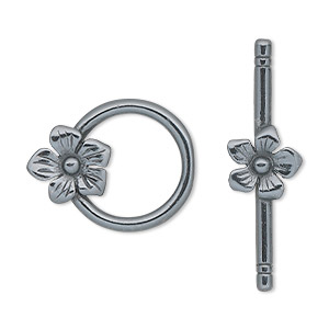 clasp, jbb findings, toggle, gunmetal-plated pewter (tin-based alloy), 23x18mm single-sided round with flower. sold individually.