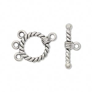 clasp, lariat style toggle, antiqued pewter (tin-based alloy), 15mm rope round. sold per pkg of 2.