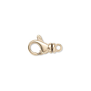 clasp, lobster claw, 14kt gold, 13x7.5mm with swivel. sold individually.