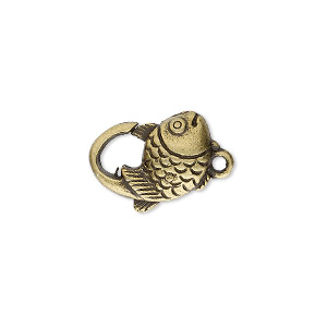 clasp, lobster claw, antique brass-plated pewter (zinc-based alloy), 17x12mm with double-sided fish design. sold per pkg of 8.