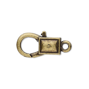 clasp, lobster claw, antique brass-plated pewter (zinc-based alloy), 22x12mm with double-sided smooth rectangle design. sold per pkg of 8.