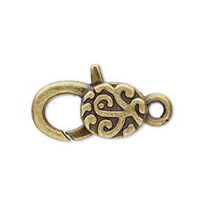 clasp, lobster claw, antique brass-plated pewter (zinc-based alloy), 25x13mm with double-sided swirl design. sold per pkg of 4.