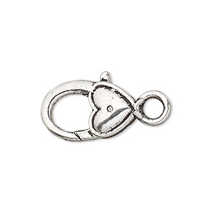 clasp, lobster claw, antique silver-plated pewter (zinc-based alloy), 21x12mm with double-sided smooth heart design. sold per pkg of 6.