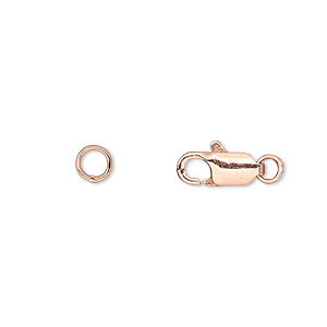 clasp, lobster claw, copper-plated brass, 10x5mm with 5mm jumpring. sold per pkg of 10.