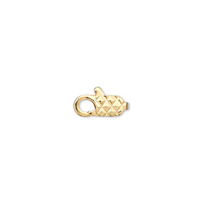 clasp, lobster claw, gold-plated brass, 11x5mm with diamond pattern. sold per pkg of 10.