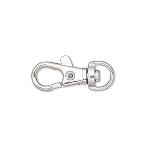 clasp, lobster claw, imitation rhodium-finished steel and pewter (zinc-based alloy), 17x9mm with swivel. sold per pkg of 10.