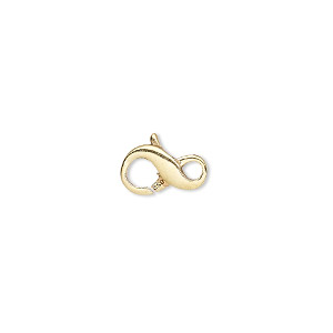 clasp, lobster claw, vermeil, 11.5x7mm infinity. sold individually.