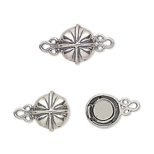 clasp, magnetic, antiqued sterling silver, 11mm fancy round. sold individually.