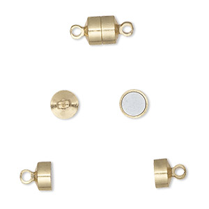 clasp, magnetic barrel, gold-finished brass, 6x5mm. sold per pkg of 10.