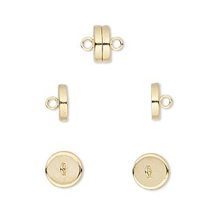 clasp, magnetic barrel, gold-plated steel, 8x4mm. sold per pkg of 100.