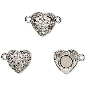 clasp, magnetic, cubic zirconia and rhodium-plated sterling silver, clear, 12x12mm heart. sold individually.
