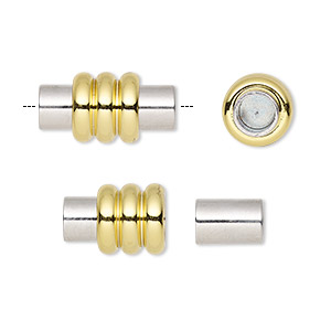 clasp, magnetic, gold- and silver-finished brass, 18x9mm ribbed barrel with glue-in ends, 4.5mm inside diameter. sold individually.