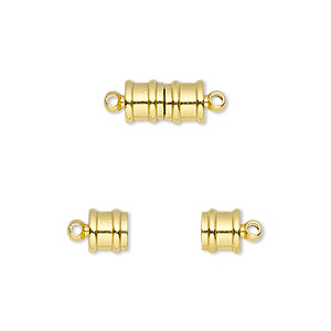 clasp, magnetic, gold-finished brass, 10.5x6mm ribbed barrel. sold individually.