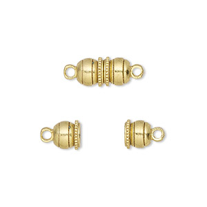 clasp, magnetic, gold-finished brass, 12x6mm double ball. sold per pkg of 10.