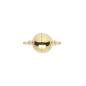 clasp, magnetic, gold-plated brass, 10mm round. sold individually.