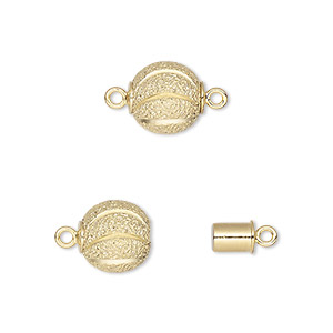 clasp, magnetic, gold-plated brass, 10mm round with curve design. sold individually.