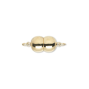 clasp, magnetic, gold-plated brass, 12x8mm double round. sold individually.