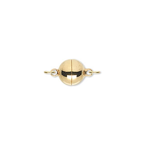 clasp, magnetic, gold-plated brass, 8mm round. sold individually.