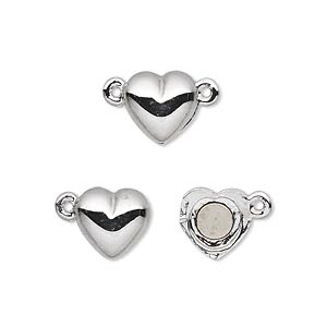 clasp, magnetic, rhodium-plated pewter (tin-based alloy), 10x10mm heart. sold individually.