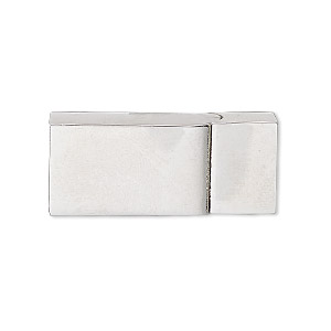 clasp, magnetic slide lock, imitation rhodium-plated pewter (zinc-based alloy), 30x13mm rectangle with glue-in ends, 11x5.5mm inside diameter. sold individually.