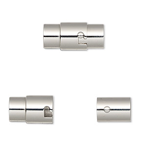 clasp, magnetic, stainless steel, 18x9.5mm locking round tube with glue-in ends, 6mm inside diameter. sold individually.