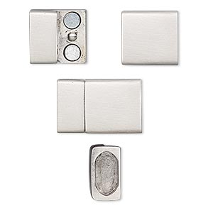 clasp, magnetic, stainless steel, 20x13mm rectangle with glue-in ends, 10.5x5mm inside diameter. sold individually.