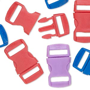 clasp mix, buckle, plastic, mixed colors, 30x16mm. sold per pkg of 12.