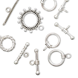 clasp mix, toggle, antiqued sterling silver. sold per pkg of 50 grams, approximately 14-25 clasps.