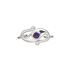 clasp, s-hook, amethyst (natural) and sterling silver, 17x11mm with 2 jumprings and 4mm faceted round. sold individually.