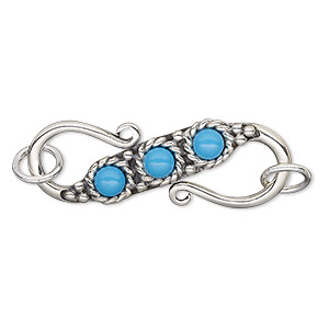 clasp, s-hook, antiqued sterling silver and turquoise (imitation), 3 small round cabochons, 35x13mm. sold individually.