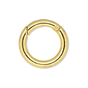 clasp, self-closing hook, gold-finished steel and pewter (zinc-based alloy), 25mm round, 4mm thick. sold per pkg of 4.