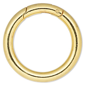 clasp, self-closing hook, gold-finished steel and pewter (zinc-based alloy), 44.5mm round, 6mm thick. sold per pkg of 2.