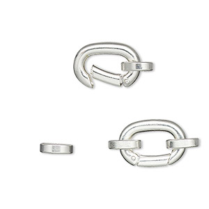 clasp, self-closing hook, silver-plated brass, 14x10mm with (2) 8x7mm oval jumprings. sold per pkg of 2.