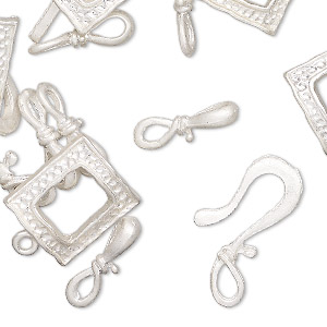 clasp, silver-finished pewter (zinc-based alloy), 15x14mm textured square toggle and 22x12mm hook-and-eye. sold per pkg of 12.