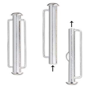 clasp, slide lock, silver-plated brass, 31x6mm round tube, 23x2mm inside diameter. sold per pkg of 4.