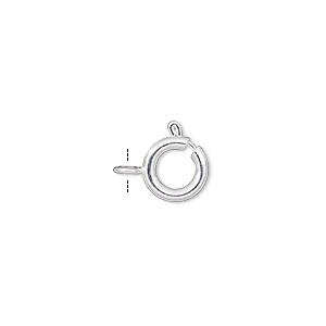 clasp, springring, silver-plated brass, 9mm. sold per pkg of 100.