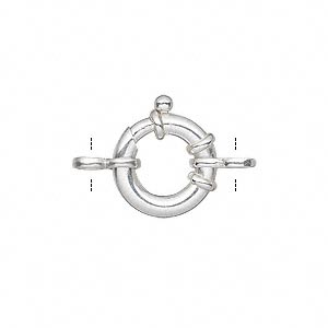 clasp, springring, sterling silver and steel, 14mm with 2 figure-8 rings. sold individually.
