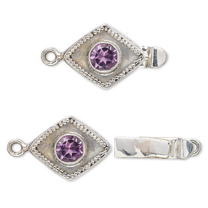 clasp, tab, amethyst (natural) and antiqued sterling silver, 17x13mm diamond with 6mm faceted round. sold individually.