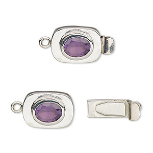 clasp, tab, amethyst (natural) and sterling silver, 13x10mm oval with 8x6mm faceted oval. sold individually.