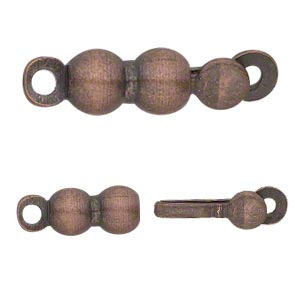 clasp, tab, antique copper-finished brass, 7x4mm double round. sold per pkg of 20.