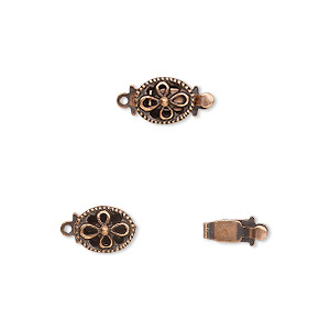 clasp, tab, antique copper-plated brass, 8x6mm oval flower. sold per pkg of 10.