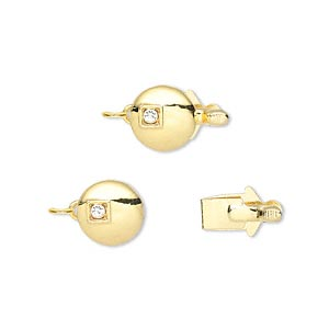 clasp, tab, cubic zirconia / gold-plated brass / vermeil. clear, 8mm flat round. sold individually.