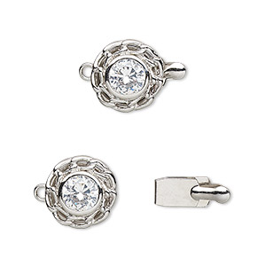 clasp, tab, cubic zirconia and rhodium-plated brass, clear, 12mm flower. sold individually.