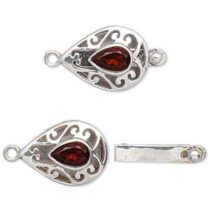 clasp, tab, garnet (natural) and sterling silver, 18x13mm filigree teardrop with 8x5mm faceted teardrop. sold individually.