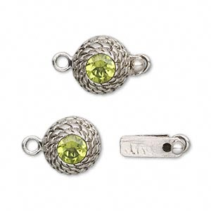 clasp, tab, peridot (natural) and sterling silver, 12mm beehive with 6mm faceted round. sold individually.