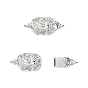 clasp, tab, silver-plated brass, 12x9mm filigree oval. sold per pkg of 4.