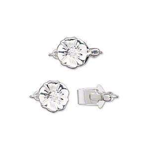 clasp, tab, silver-plated brass, 9mm single-sided flat round with flower design. sold individually.