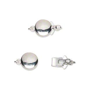 clasp, tab, silver-plated brass, 9mm single-sided puffed flat round. sold individually.